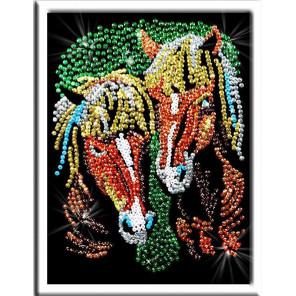 Лошади Набор для создания картины из пайеток 035