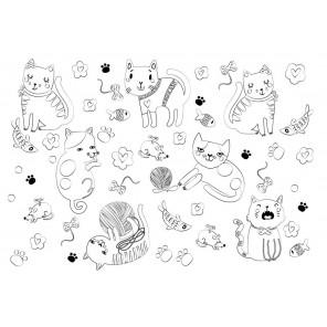 Котики Многоразовая раскраска-коврик для творчества mr-110