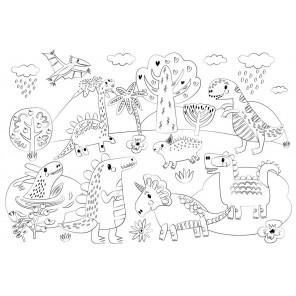 Динозавры Многоразовая раскраска-коврик для творчества mr-107