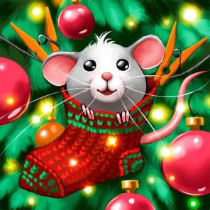 Крысенок в носке Алмазная вышивка мозаика АЖ-1812