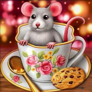 Крысенок в чашке Алмазная вышивка мозаика АЖ-1813