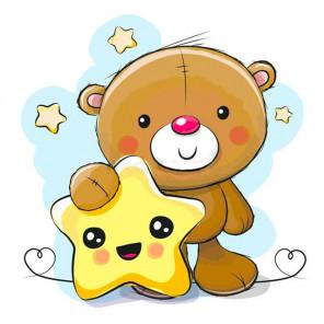 Медвежонок со звездой Алмазная вышивка мозаика Гранни AG2339