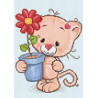 Котенок с подарком Алмазная вышивка мозаика Гранни AG2344