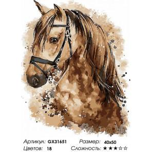 Сложность и количество цветов Милый взгляд лошади Раскраска картина по номерам на холсте GX31651