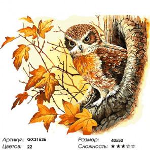 Сложность и количество цветов Сова в осенней листве Раскраска картина по номерам на холсте GX31636
