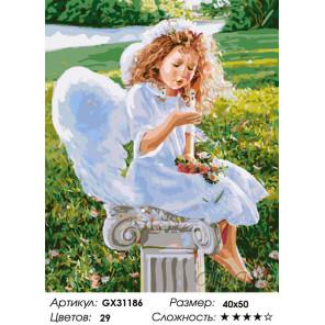 Сложность и количество цветов Размышления ангела Раскраска картина по номерам на холсте GX31186