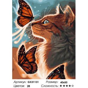 Сложность и количество цветов Бабочки и кошка Раскраска картина по номерам на холсте GX31131