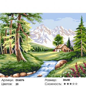 Сложность и количество цветов Речка у леса Раскраска картина по номерам на холсте EX6076