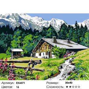Сложность и количество цветов Домик в предгорье Раскраска картина по номерам на холсте EX6071