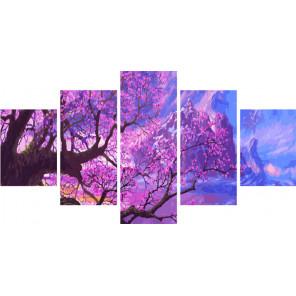 Сиреневые оттенки природы Модульная картина по номерам на холсте с подрамником WX1121