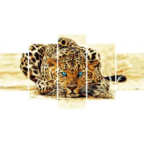 Абстрактный леопард Модульная картина по номерам на холсте с подрамником WX1119
