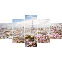 Весенний Париж Модульная картина по номерам на холсте с подрамником WX1113