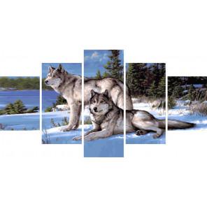 Зимние волки Модульная картина по номерам на холсте с подрамником WX1112