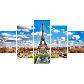 Эйфелева башня в облаках Модульная картина по номерам на холсте с подрамником WX1110