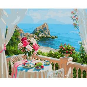 Балкончик с видом на море Раскраска картина по номерам на холсте Z-GX29309