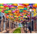 Улица зонтиков Раскраска картина по номерам на холсте
