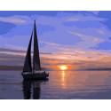 Парусник на закате Раскраска картина по номерам на холсте Z-GX31088