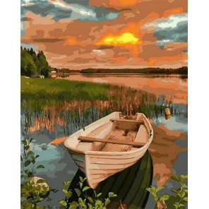 Лодка на закате Раскраска картина по номерам на холсте Z-GX31605