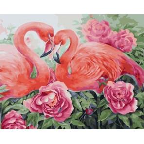 Фламинго в цветах Раскраска картина по номерам на холсте Z-GX31635