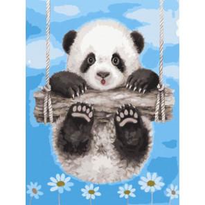 Панда на качелях Раскраска картина по номерам на холсте Z-EX5240