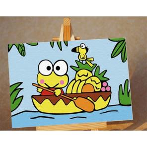 Лягушка в лодке Раскраска картина по номерам PA057