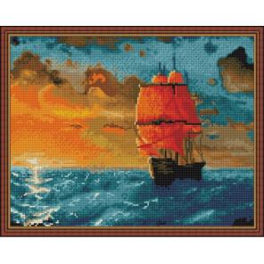 Алые паруса на закате Алмазная вышивка мозаика на подрамнике