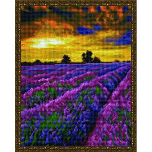 Лавандовое поле на закате Алмазная вышивка мозаика на подрамнике