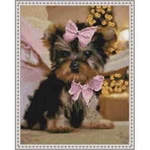 Собачка с бантиком Алмазная вышивка мозаика на подрамнике
