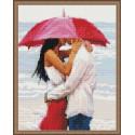 Поцелуй под зонтом Алмазная вышивка мозаика на подрамнике