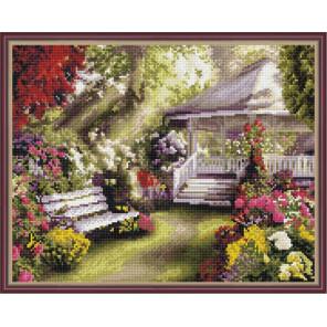 Беседка в саду Алмазная вышивка мозаика на подрамнике