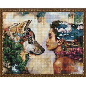 Девушка и волк Алмазная вышивка мозаика на подрамнике