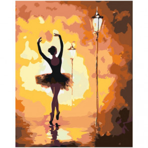 Балерина у фонаря 80х100 Раскраска картина по номерам на холсте