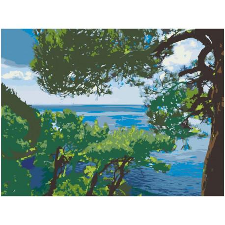 Сосны на берегу моря 60х80 Раскраска картина по номерам на холсте