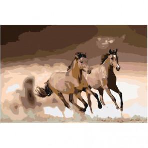 Скачущие гнедые лошади 80х120 Раскраска картина по номерам на холсте