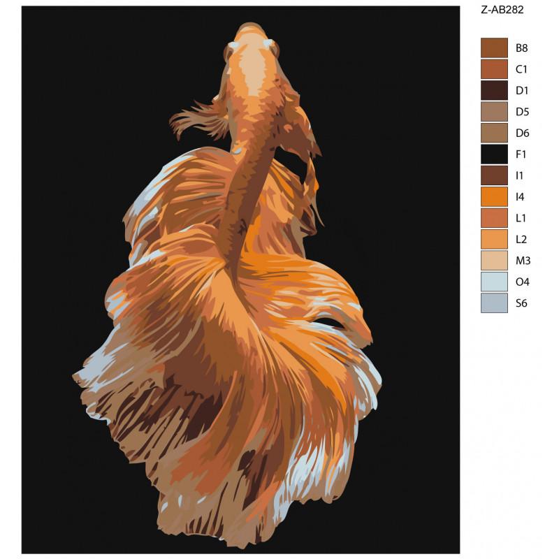 Золотая рыбка Раскраска картина по номерам на холсте Z ...