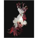 Белая рыбка с красными плавниками Раскраска картина по номерам на холсте