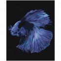 Голубая рыбка Раскраска картина по номерам на холсте