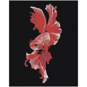Красная рыбка 80х100 Раскраска картина по номерам на холсте