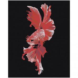Красная рыбка Раскраска картина по номерам на холсте