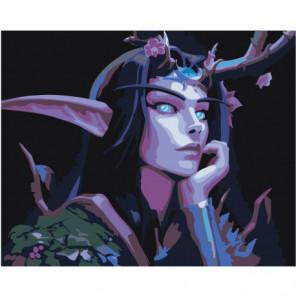 Ночная эльфийка друид Раскраска картина по номерам на холсте