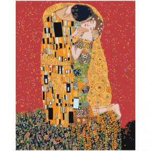 Золотой поцелуй, Густав Климт Раскраска картина по номерам на холсте