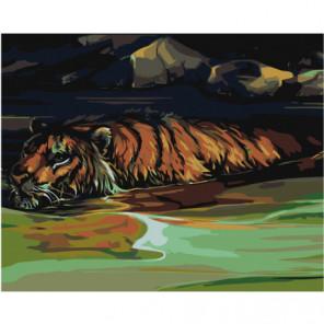 Тигр в реке 80х100 Раскраска картина по номерам на холсте