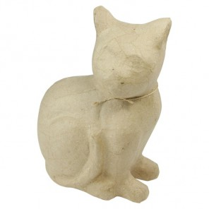 Кошка сидит Фигурка средняя из папье-маше объемная Decopatch