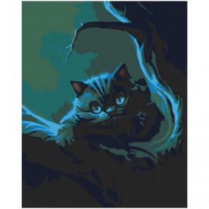 Чеширский кот на дереве Раскраска картина по номерам на холсте