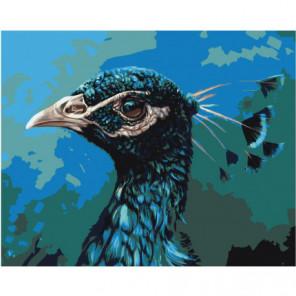 Голова павлина 80х100 Раскраска картина по номерам на холсте