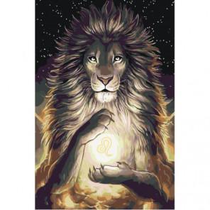Лев со знаком зодиака 80х120 Раскраска картина по номерам на холсте