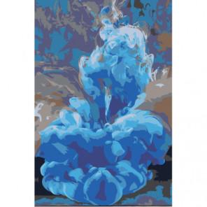 Синяя абстракция 100х150 Раскраска картина по номерам на холсте