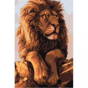Задумчивый лев Раскраска картина по номерам на холсте