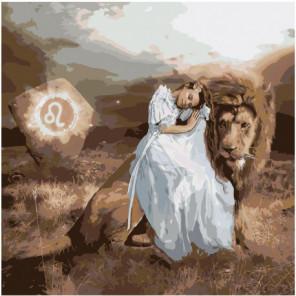 Лев с девушкой. Знак зодиака 80х80 Раскраска картина по номерам на холсте