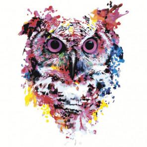 Радужная сова. Акварель 100х100 Раскраска картина по номерам на холсте